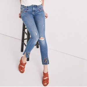 Lucky Brand Blue Embroidered Ava Skinny Jeans